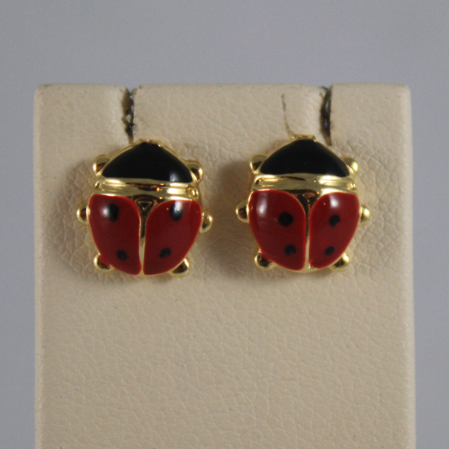 SOLID 18K YELLOW GOLD EARRINGS, WITH GLAZED LADYBIRD, WIDTH 0,35 IN