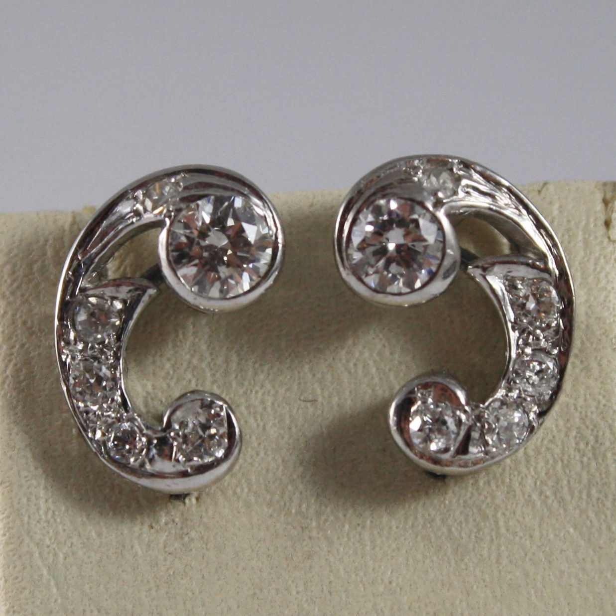 SOLID 18K WHITE GOLD EARRINGS, ETHNYC STYLE WITH DIAMONDS, DIAMOND MADE IN ITALY