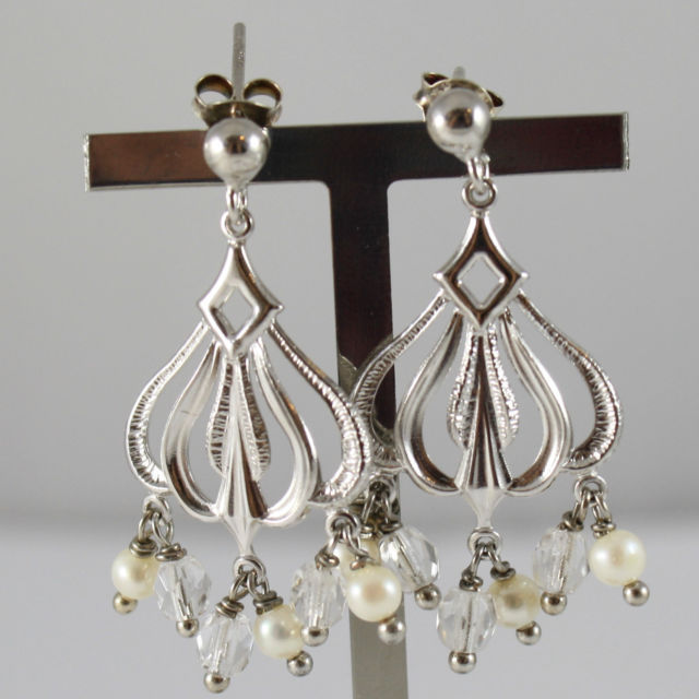 925 Silver Earrings Rhodium With Machined Plate, Pearls and Crystal