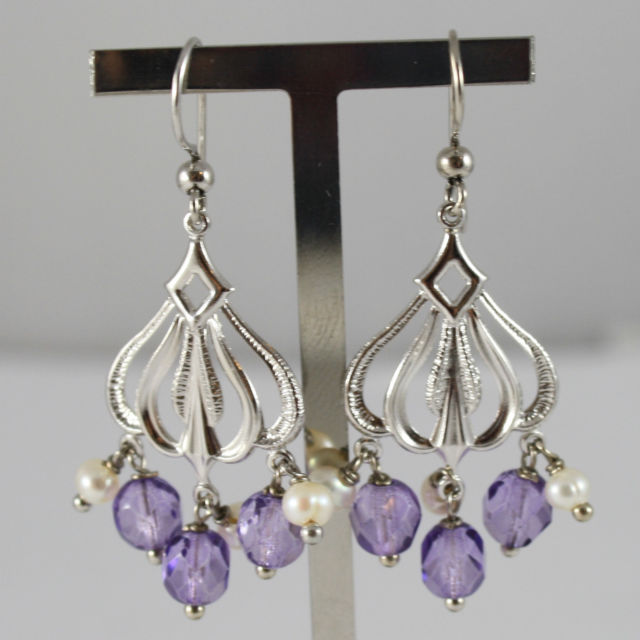 925 Silver Earrings Rhodium With Machined Plate, Pearls and Crystals