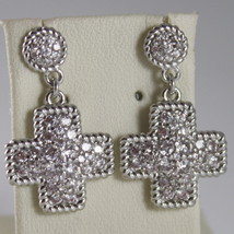 RHODIUM BRONZE EARRINGS, CROSS CUBIC ZIRCONIA B14OBB13, BY REBECCA MADE IN ITALY