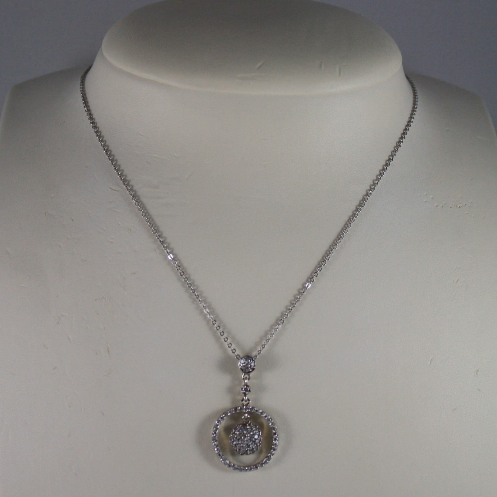 .925 SILVER RHODIUM NECKLACE WITH ZIRCONIA, ROUND MESH  LENGTH 17,91