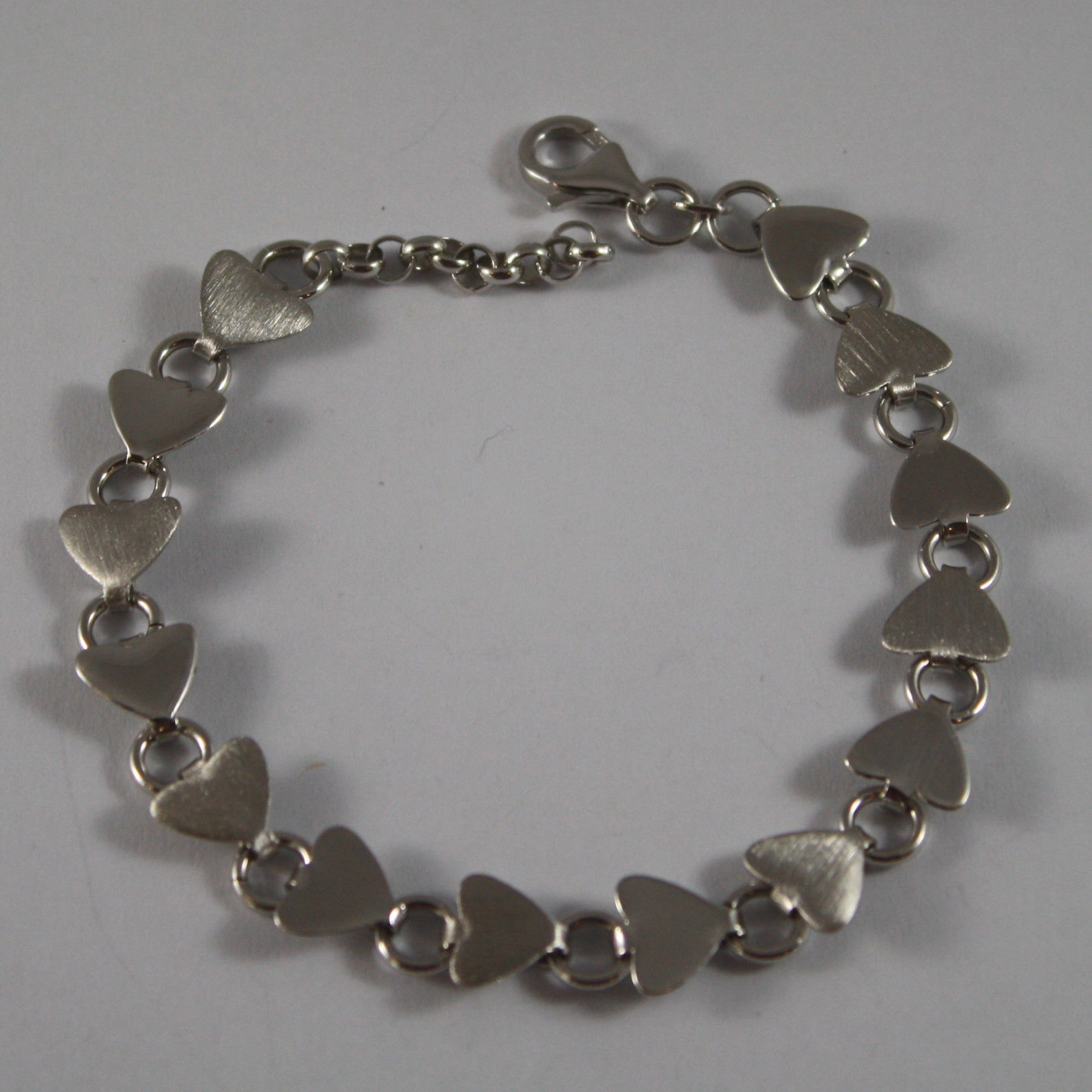 .925 RHODIUM SILVER BRACELET WITH SATIN AND GLOSSY HEARTS