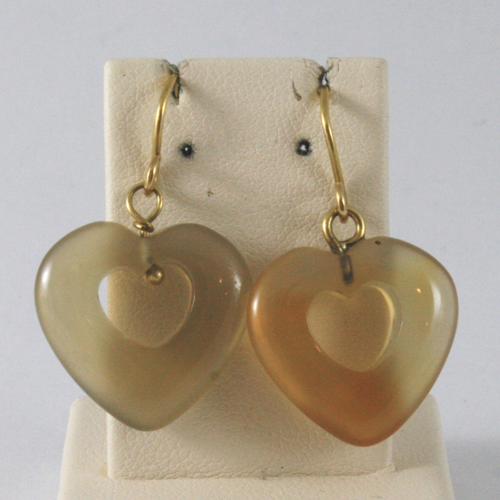 SOLID 18K YELLOW GOLD EARRINGS WITH HEARTS OF AGATE, MADE IN ITALY 18K