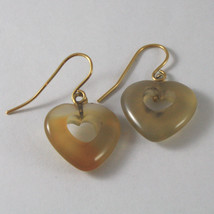 SOLID 18K YELLOW GOLD EARRINGS WITH HEARTS OF AGATE, MADE IN ITALY 18K image 3