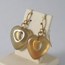 SOLID 18K YELLOW GOLD EARRINGS WITH HEARTS OF AGATE, MADE IN ITALY 18K image 2