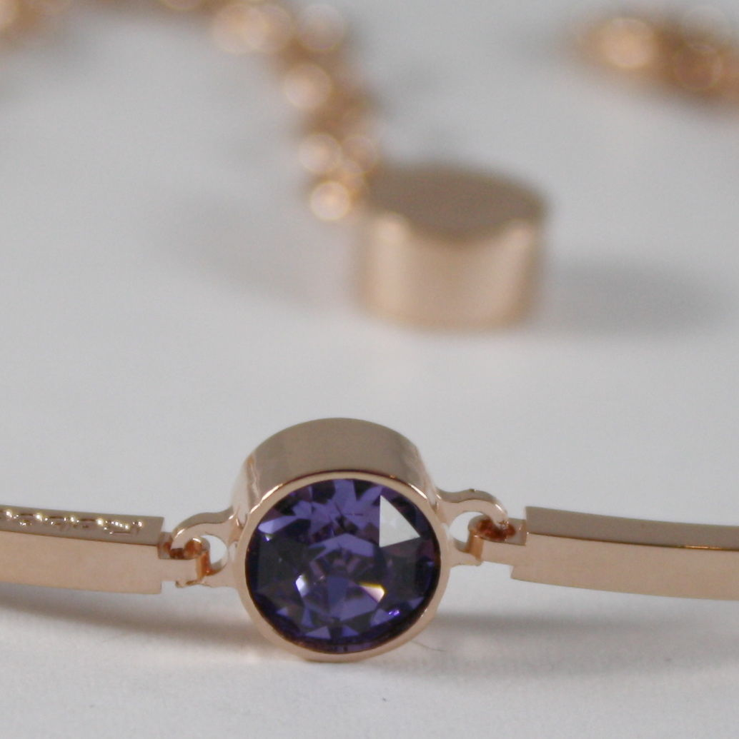 ROSE BRONZE REBECCA BRACELET SEMI RIGID WITH PURPLE CRYSTAL CT 1 MADE IN ITALY