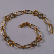 SOLID 18K YELLOW & WHITE GOLD BRACELET, OVAL CHAIN, DOUBLE HEART WORKED MESH.