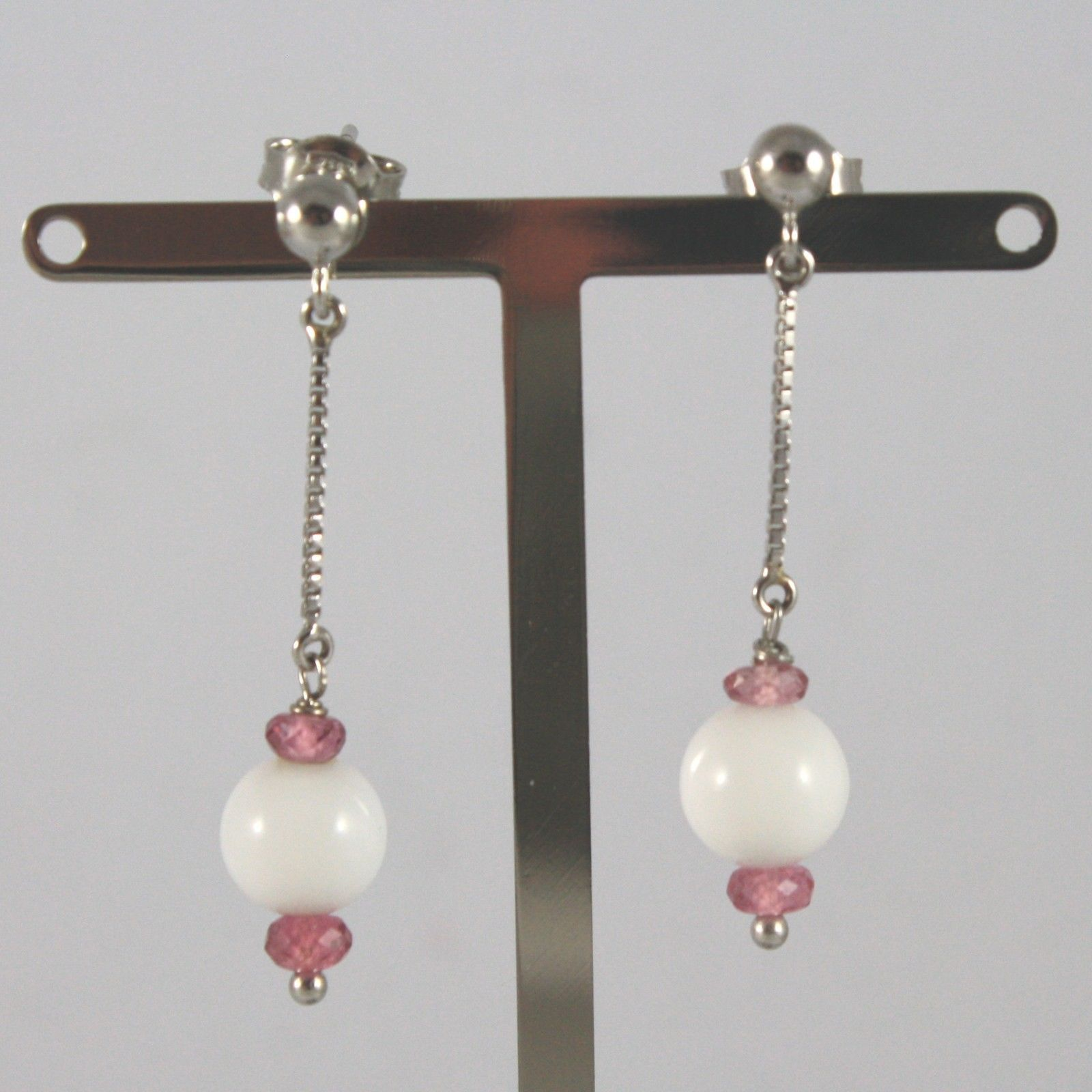 White Gold Earrings 750 18k charms, with White Agate and Amethyst