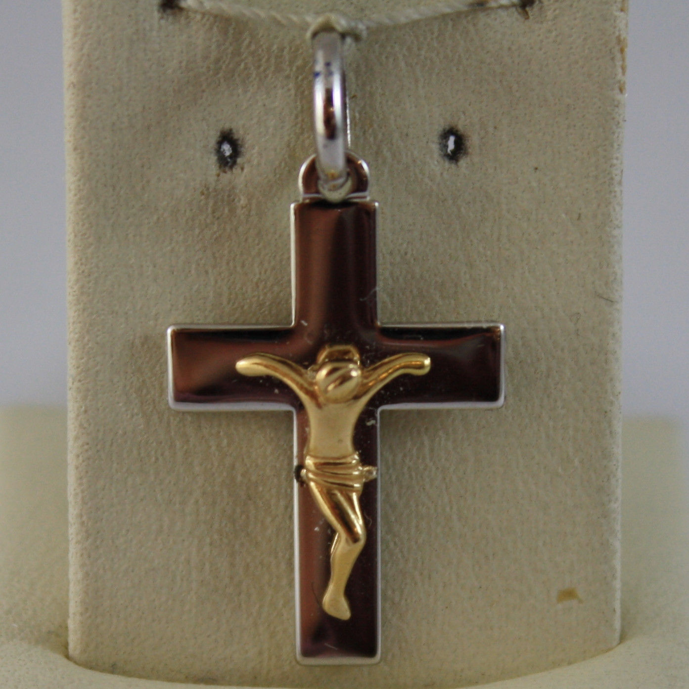 SOLID 18K WHITE AND YELLOW GOLD CROSS PENDANT, WITH JESUS MADE IN ITALY