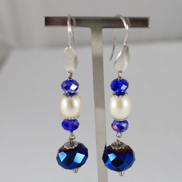 925 Silver Earrings Pendants with Blue Crystals and White Pearls