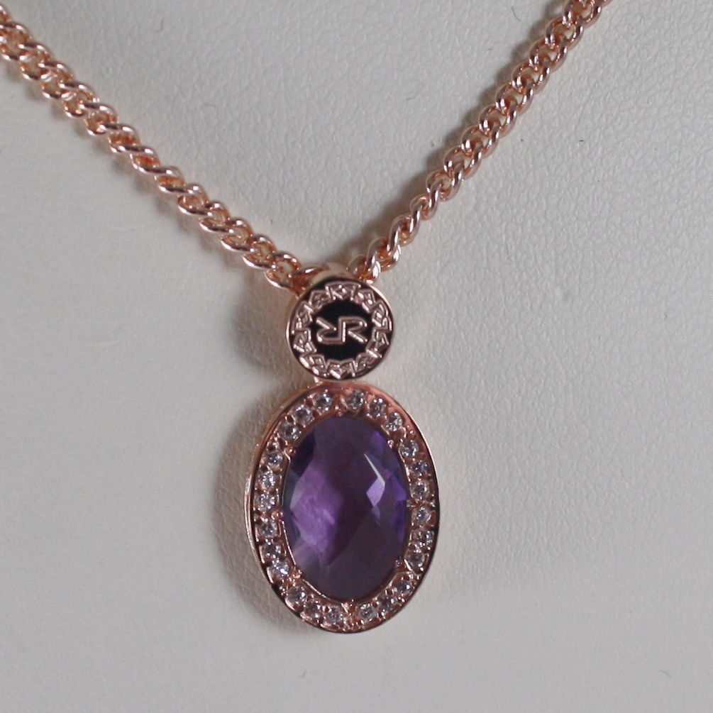 ROSE BRONZE NECKLACE B14KRA23 WITH OVAL PURPLE QUARTZ BY REBECCA MADE IN ITALY