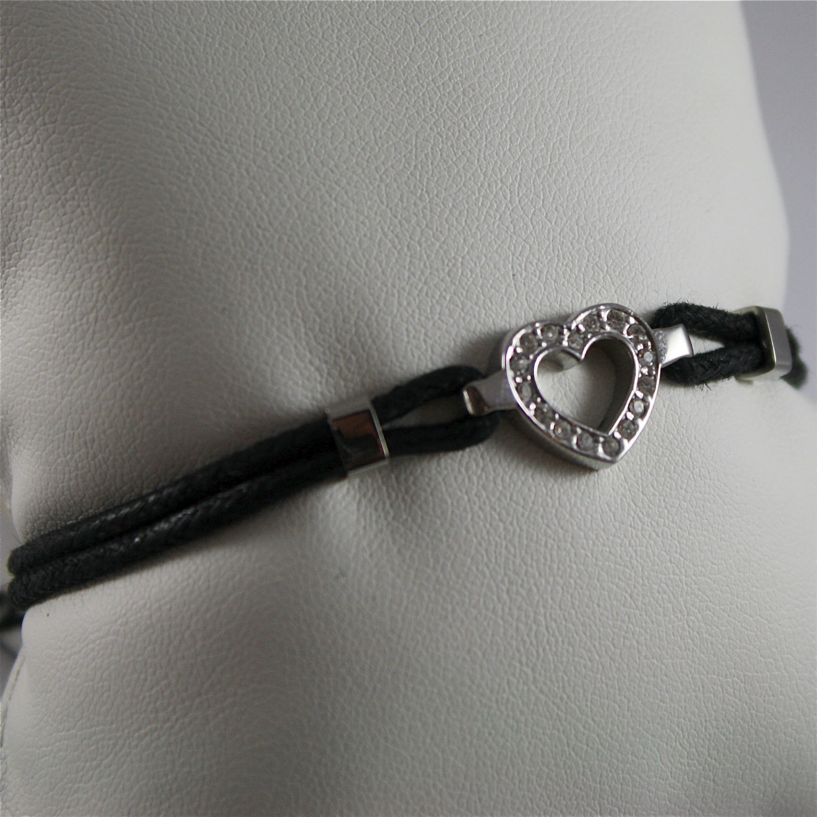 S'AGAPO' BRACELET, 316L STEEL, HEART, WAXED BLACK COTTON, HEART, CRYSTALS.