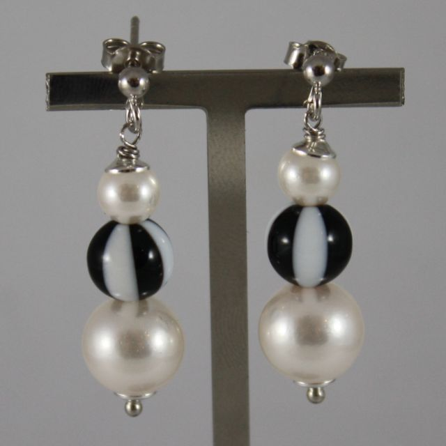 925 Silver Earrings Pendants With Synthetic Pearl White and Black White Agate -