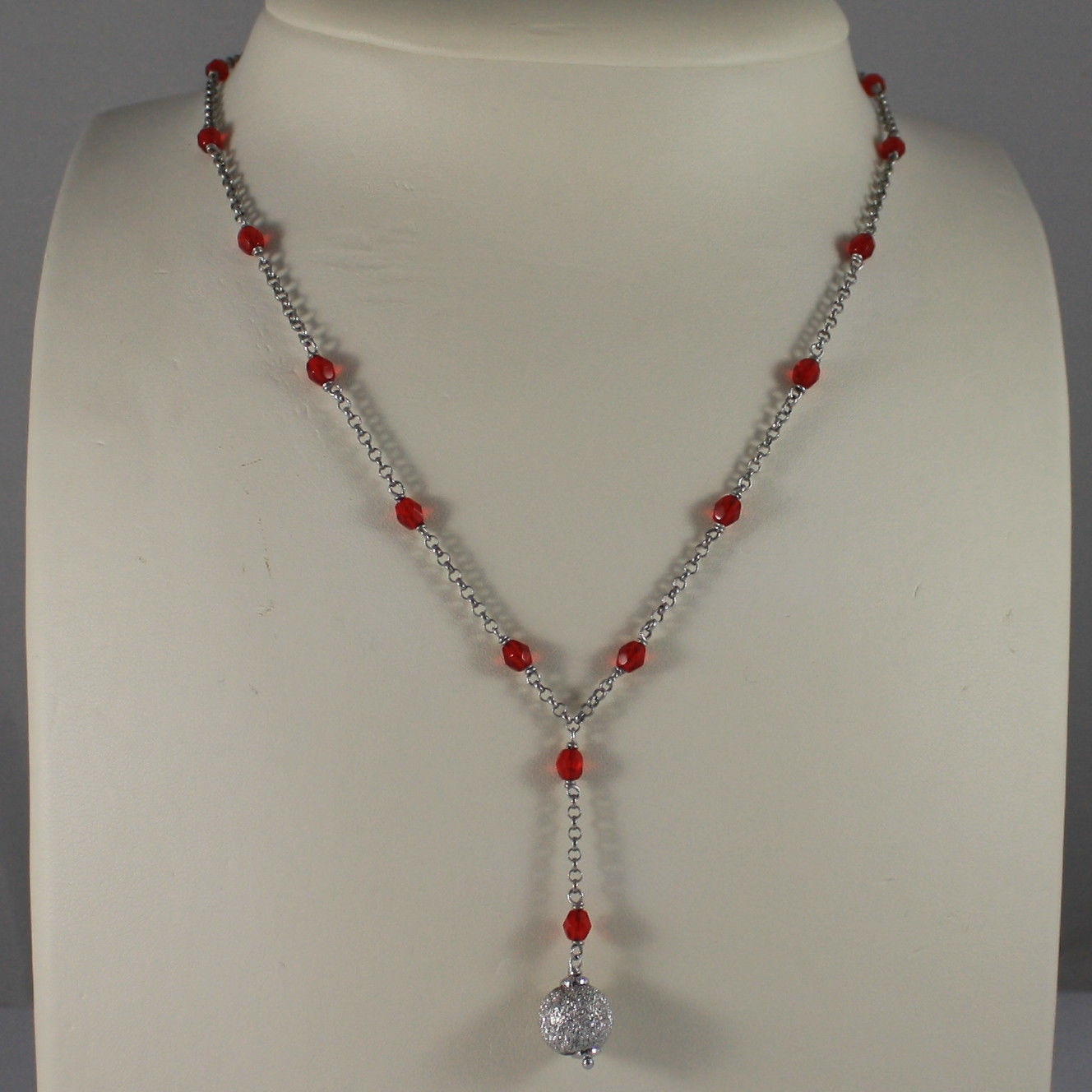 .925 SILVER RHODIUM NECKLACE WITH RED CRYSTALS AND SILVER SPHERE