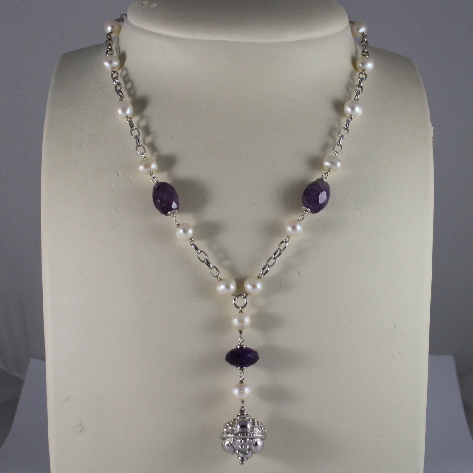 .925 SILVER RHODIUM NECKLACE WITH PURPLE AMETHYST, WHITE PEARLS AND PENDANT