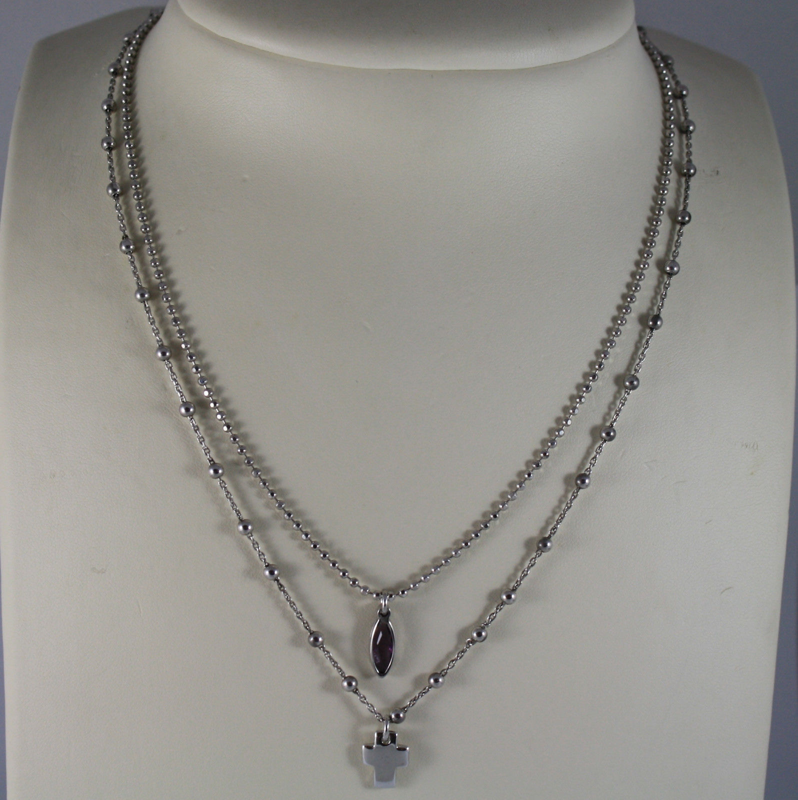 .925 RHODIUM SILVER DOUBLE WIRE NECKLACE WITH PURPLE CRISTAL AND CROSS