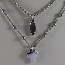 .925 RHODIUM SILVER DOUBLE WIRE NECKLACE WITH PURPLE CRISTAL AND CROSS image 3