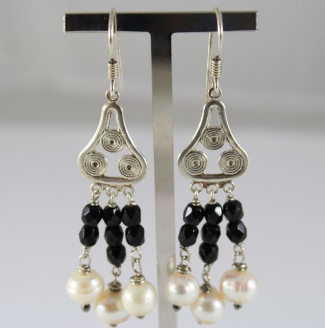 925 Silver Earrings Pendants with White Pearls and Black Onyx