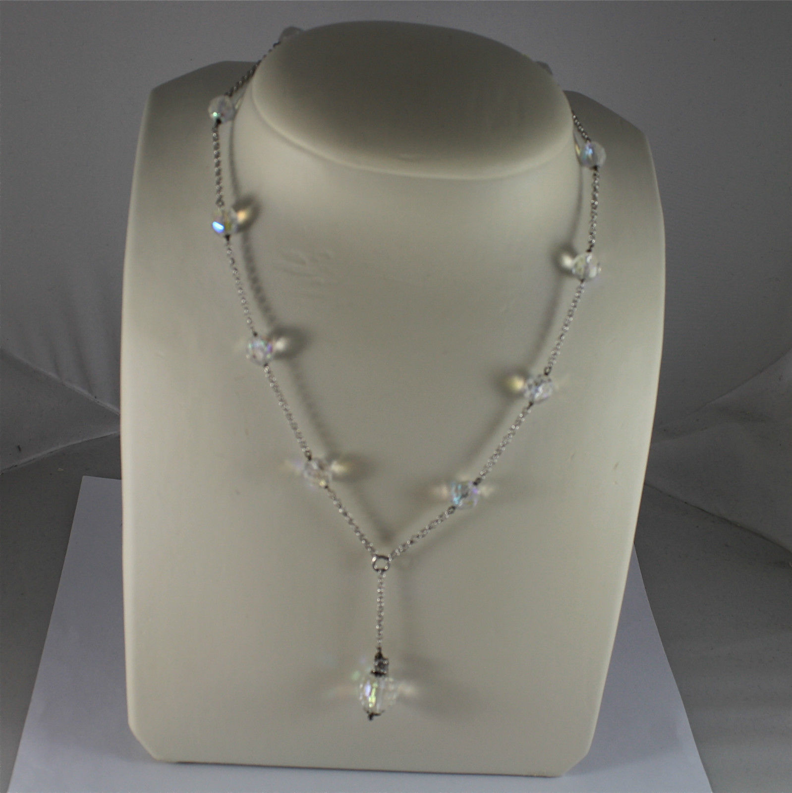 .925 RHODIUM SILVER NECKLACE, 17,32 In, FACETED CRISTAL BALLS, SINGLE PENDANT.