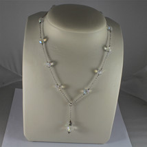 .925 RHODIUM SILVER NECKLACE, 17,32 In, FACETED CRISTAL BALLS, SINGLE PENDANT. image 1
