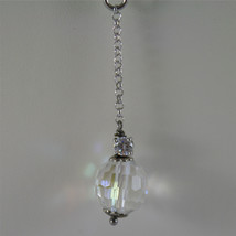 .925 RHODIUM SILVER NECKLACE, 17,32 In, FACETED CRISTAL BALLS, SINGLE PENDANT. image 3