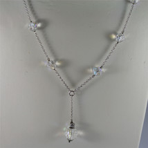 .925 RHODIUM SILVER NECKLACE, 17,32 In, FACETED CRISTAL BALLS, SINGLE PENDANT. image 2