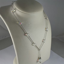 .925 RHODIUM SILVER NECKLACE, 17,32 In, FACETED CRISTAL BALLS, SINGLE PENDANT. image 4