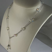 .925 RHODIUM SILVER NECKLACE, 17,32 In, FACETED CRISTAL BALLS, SINGLE PENDANT. image 5