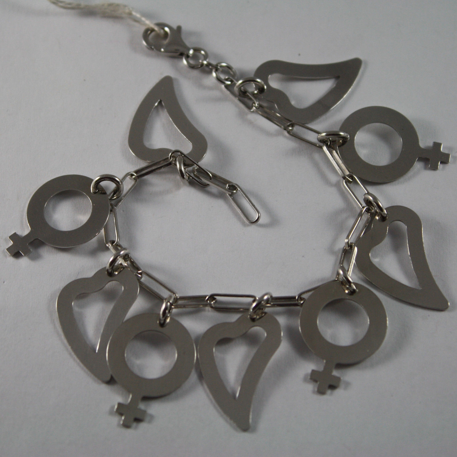 .925 RHODIUM SILVER BRACELET WITH HEARTS