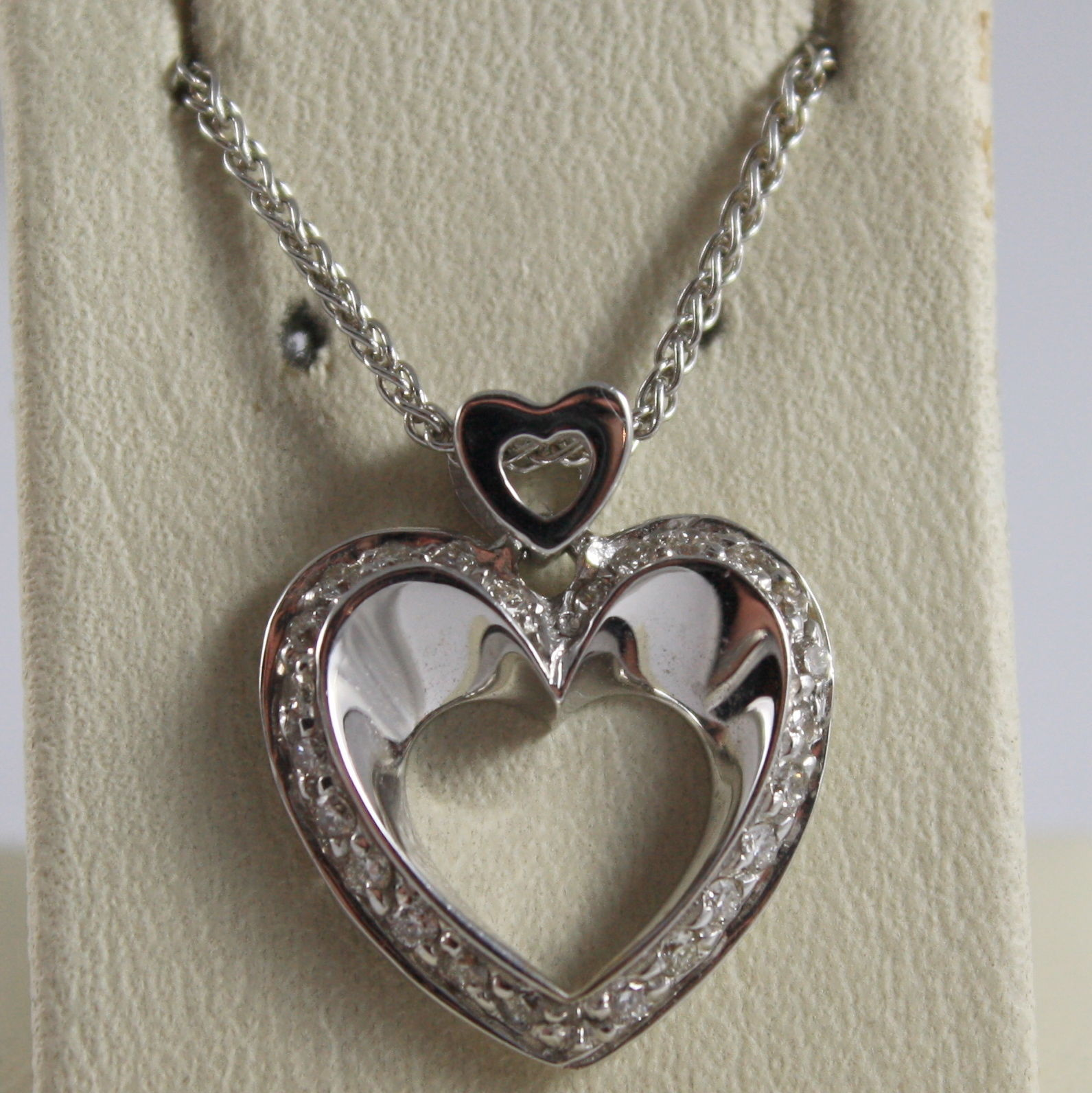 SOLID 18K WHITE GOLD NECKLACE WITH DOUBLE HEART, DIAMONDS, DIAMOND MADE IN ITALY