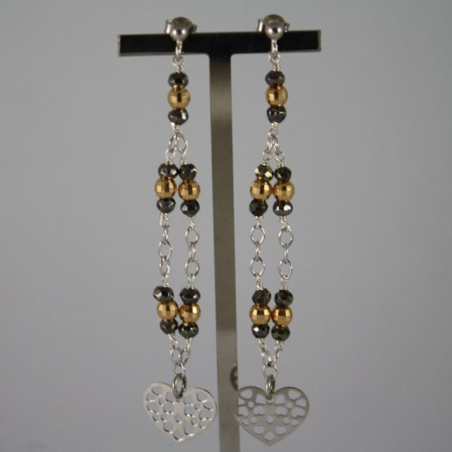 925 Silver Earrings with Burnished spheres and Yellow Gold Plated with Heart