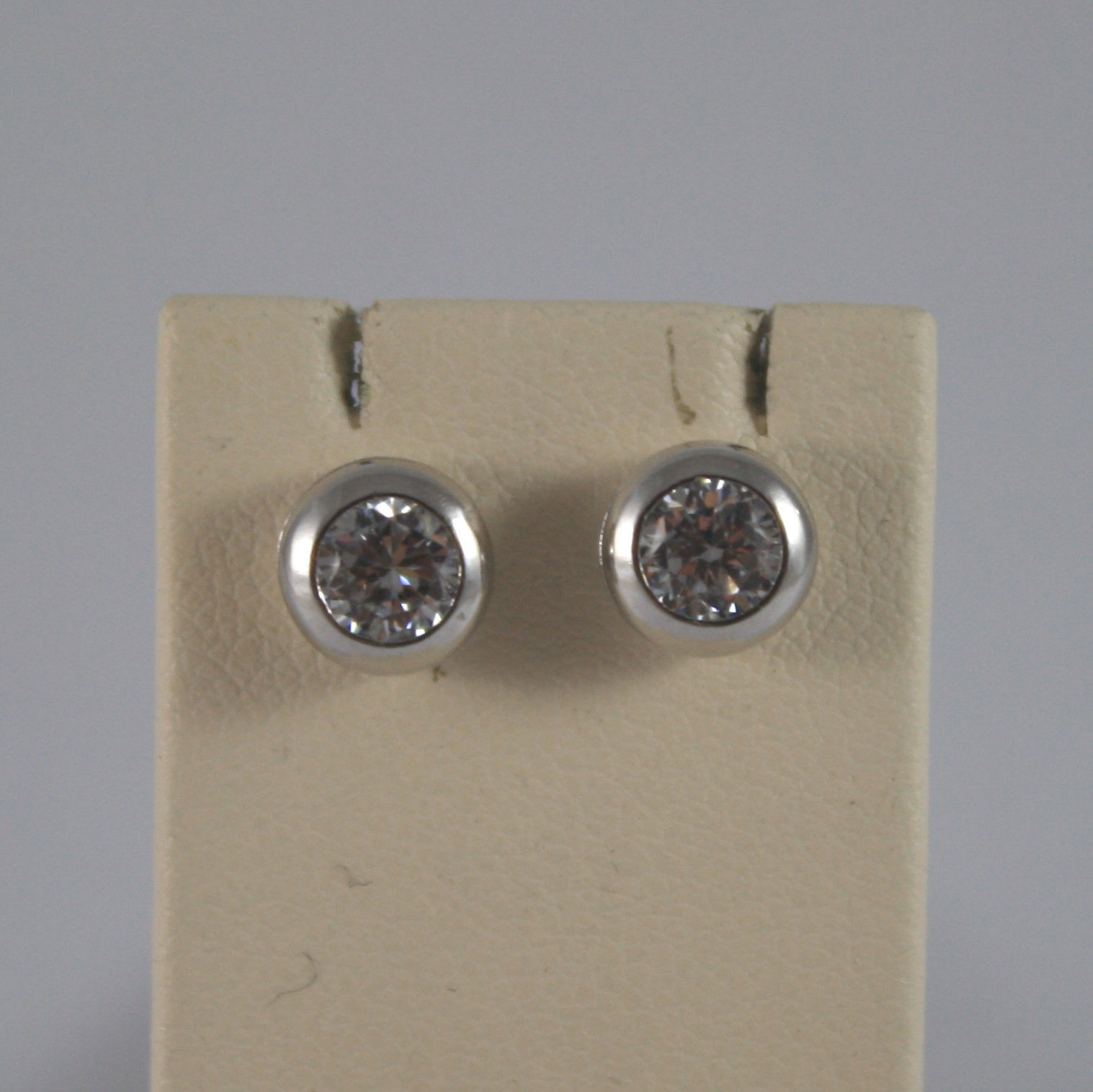 SOLID 18K WHITE GOLD EARRINGS, WITH ZIRCONIA, WIDTH 0,28 IN MADE IN ITALY