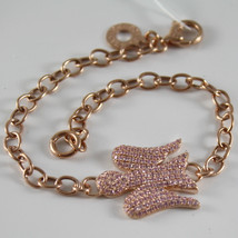925 SILVER PL. ROSE GOLD BRACELET ANGEL MADE IN ITALY, ROBERTO GIANNOTTI GIA155