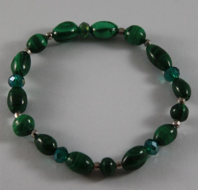 Bracelet in Sterling Silver 925 Elastic with Malachite Green and Green Crystals