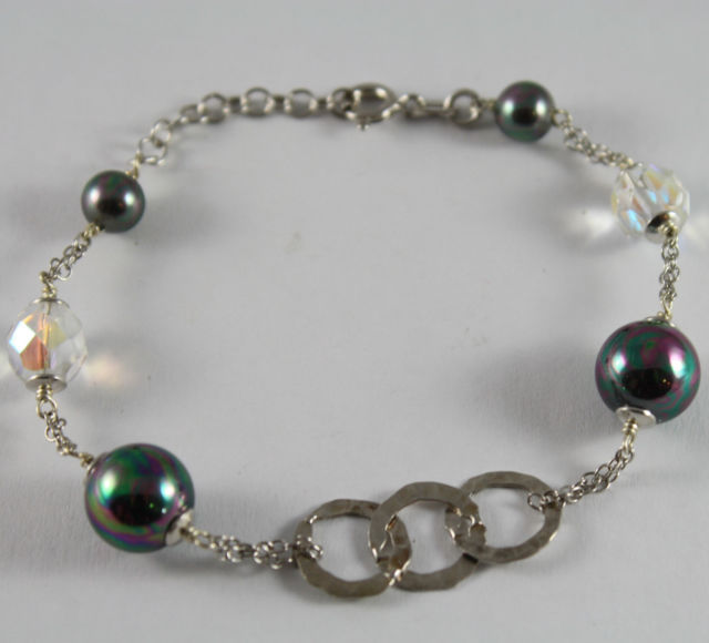 925 Silver Bangle with three circles Machined, Synthetic Pearls and Crystals