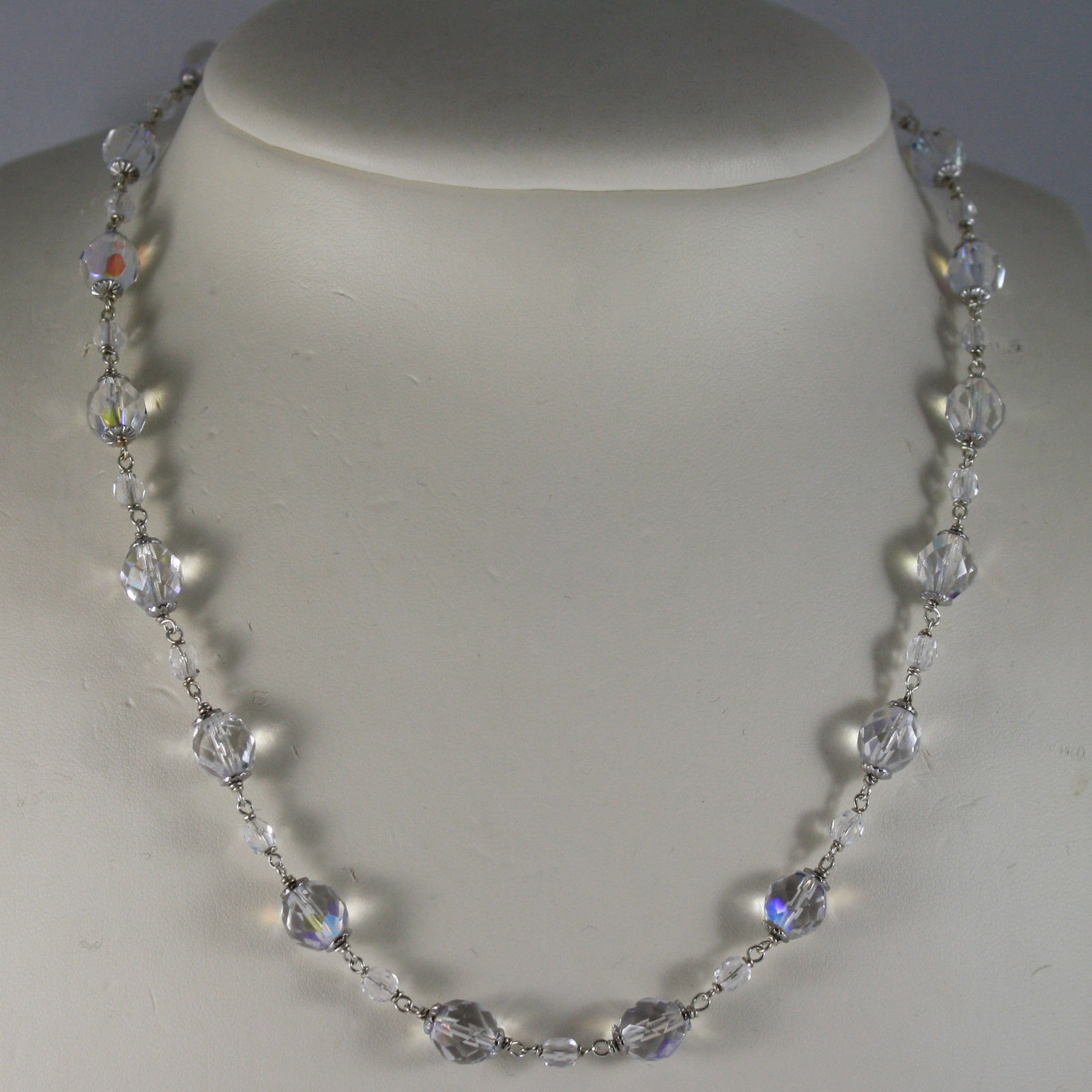 .925 RHODIUM SILVER NECKLACE WITH TRANSPARENT CRYSTALS