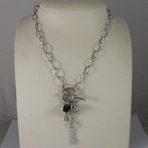 .925 SILVER RHODIUM NECKLACE WITH TRANSPARENT CRISTAL, WHITE HOWLITE AND... - $141.55