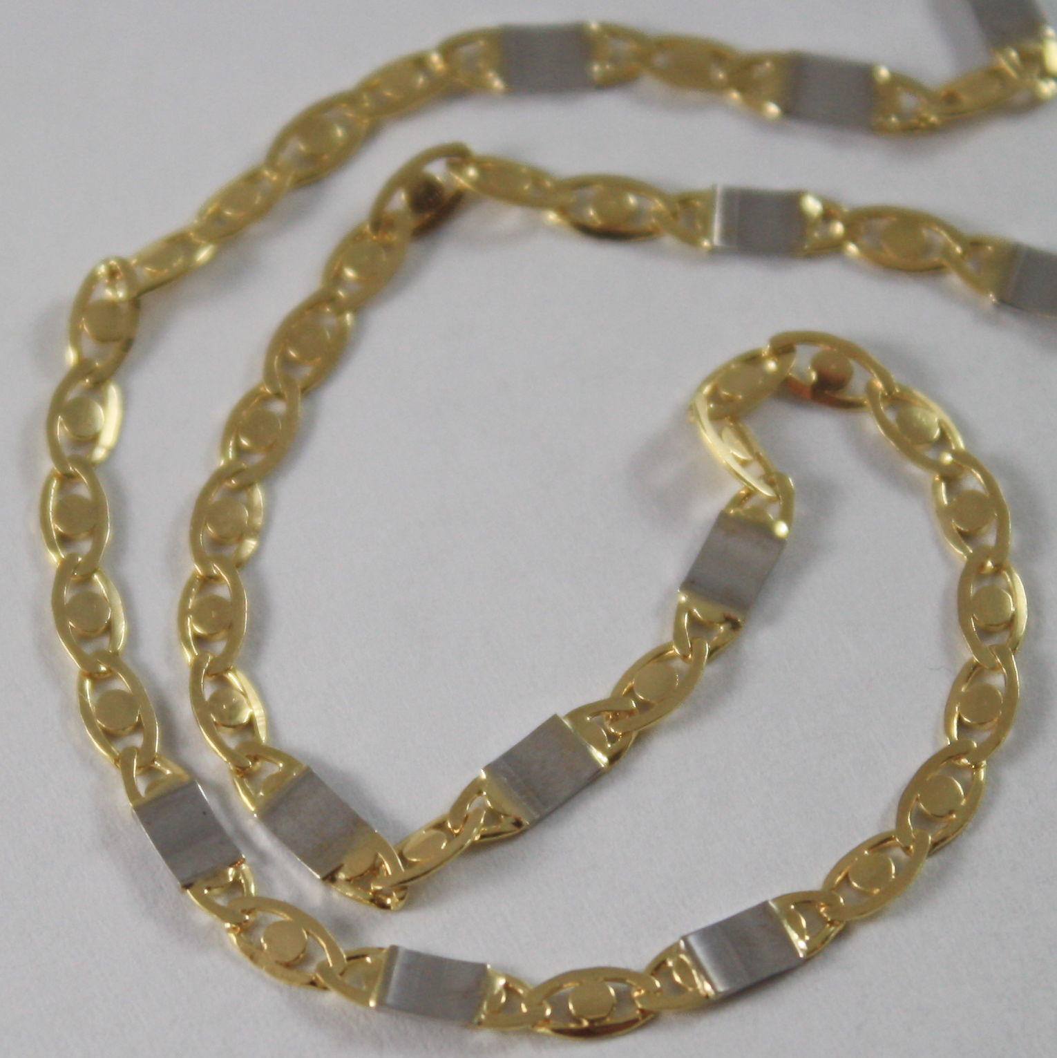 SOLID 18K WHITE & YELLOW GOLD CHAIN, OVAL PLATES MESH 19.68 IN. MADE IN ITALY
