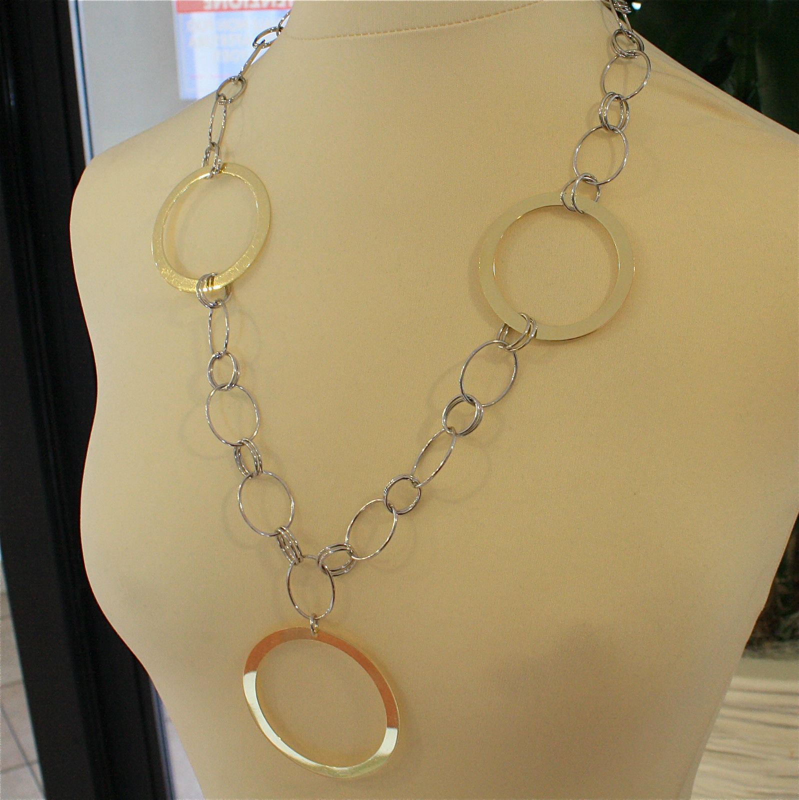 .925 SILVER RHODIUM AND GOLD PLATED NECKLACE, 23,62 In, 3 BIG YELLOW PLT RINGS.