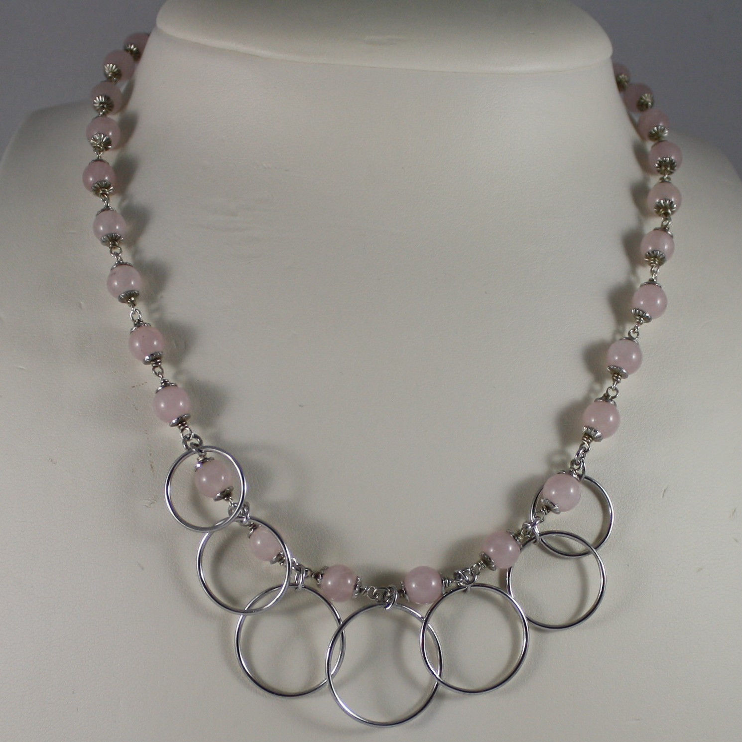 .925 SILVER RHODIUM NECKLACE WITH PINK QUARTZ AND SILVER CIRCLES PENDANT