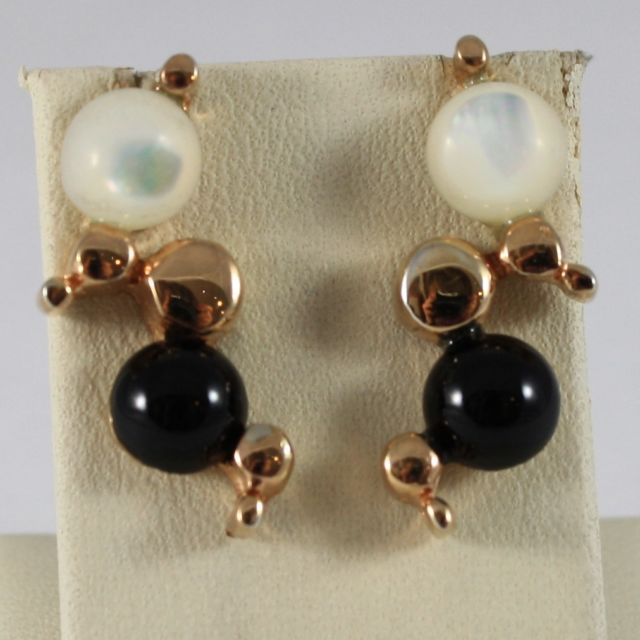 925 Silver Earrings Rose Gold Plated with Mother of Pearl and Onyx Black