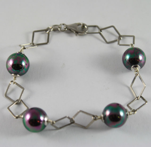 925 Silver Bangle with Diamond Knit and Pearls Grey Synthetic
