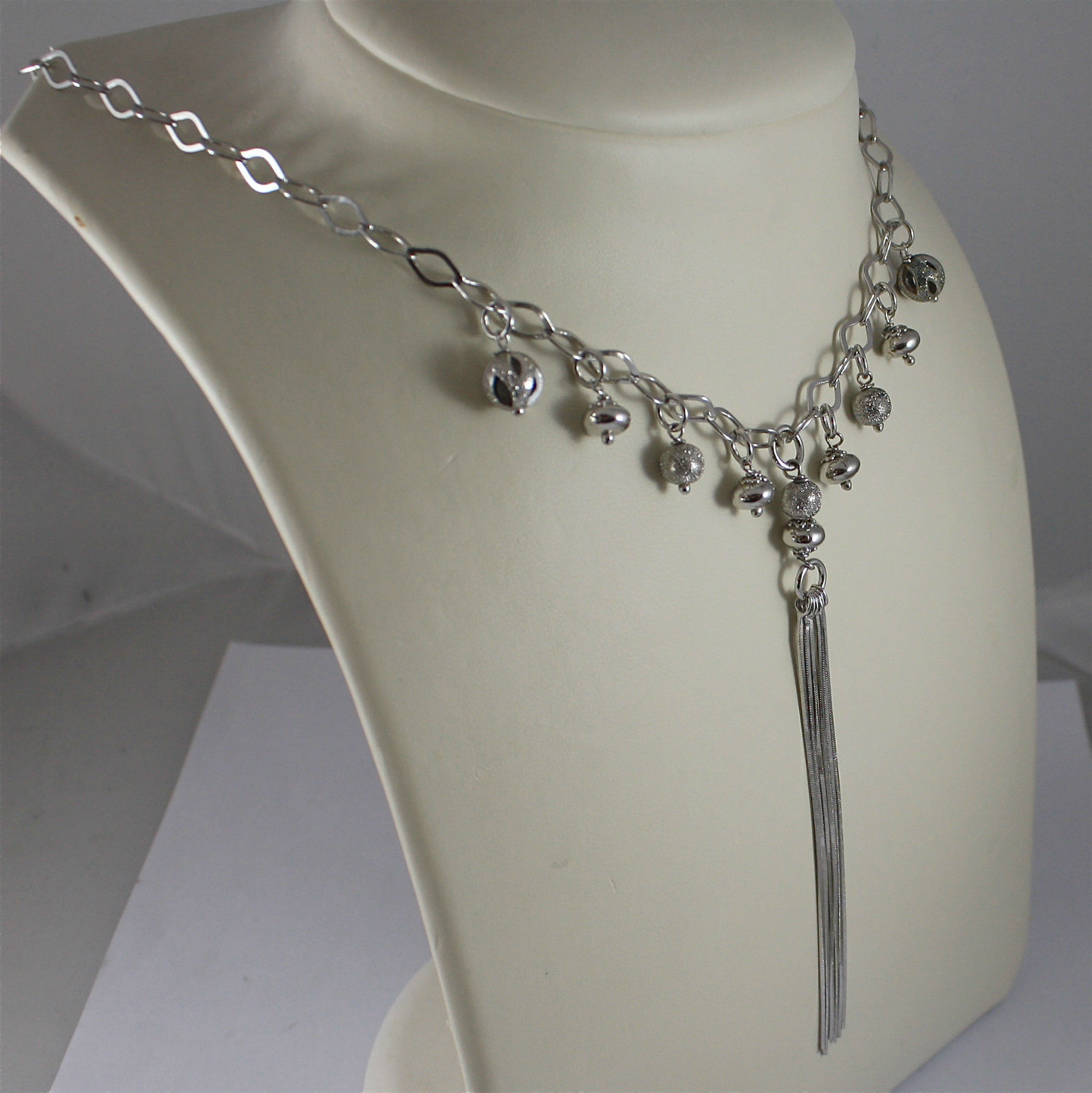 .925 RHODIUM SILVER NECKLACE, SCARF, LONG PENDANT, SILVER BALLS, BRIGHT WORKED.