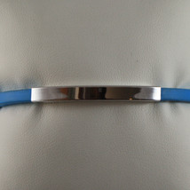 .925 STERLING SILVER RIGID BRACELET WITH BLUE RUBBER AND PLATE image 2