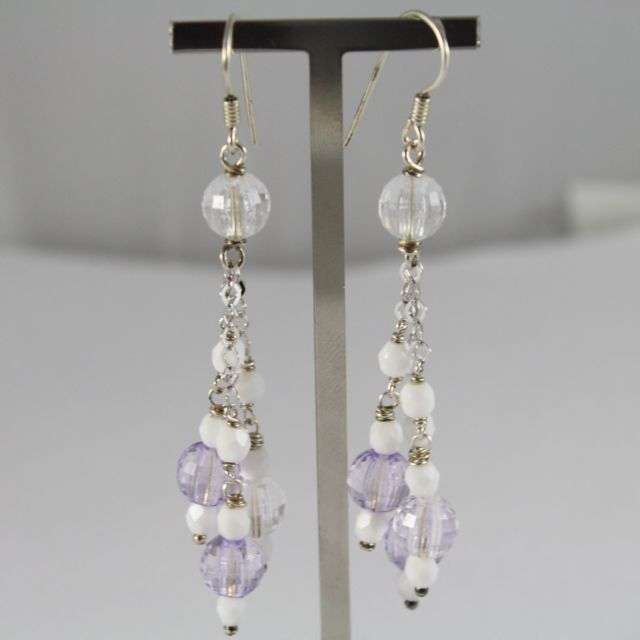 925 Silver Earrings Pendants with white agate and crystals lilac