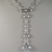.925 RHODIUM NECKLACE WITH TRANSPARENT FACETED CRYSTALS image 3