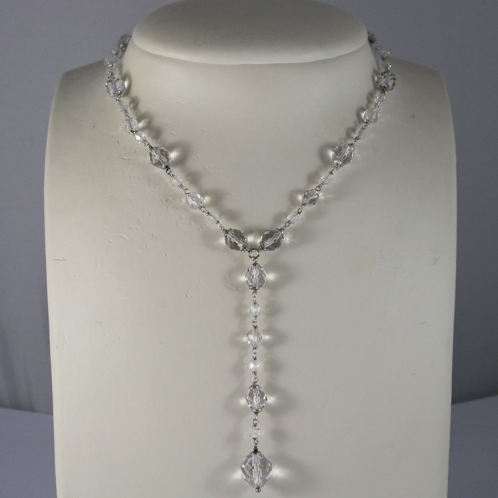 .925 RHODIUM NECKLACE WITH TRANSPARENT FACETED CRYSTALS