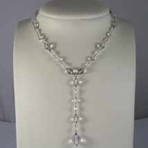 .925 RHODIUM NECKLACE WITH TRANSPARENT FACETED CRYSTALS image 1