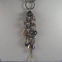.925 SILVER RHODIUM NECKLACE WITH GRAY & BROWN PEARLS AND YELLOW CRYSTALS image 3